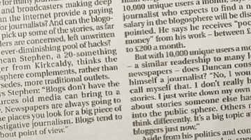 Newspaper article about my blogging