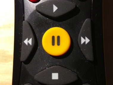 Pause button on a TV remote control