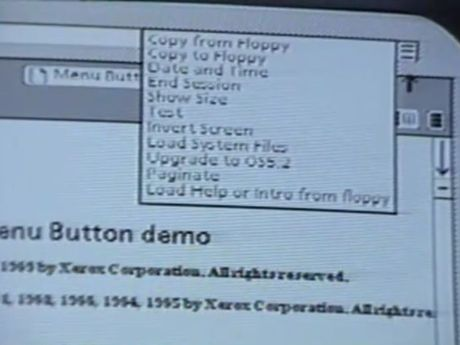 The first ever hamburger menu, in the Xerox Star interface