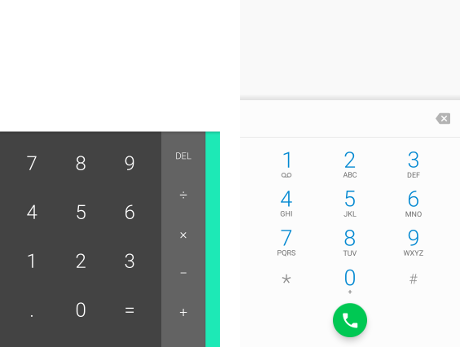 Calculator and phone keypads in Android apps