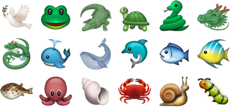 A selection of Apple animal emojis