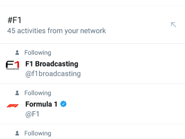 Searching for F1 on Twitter
