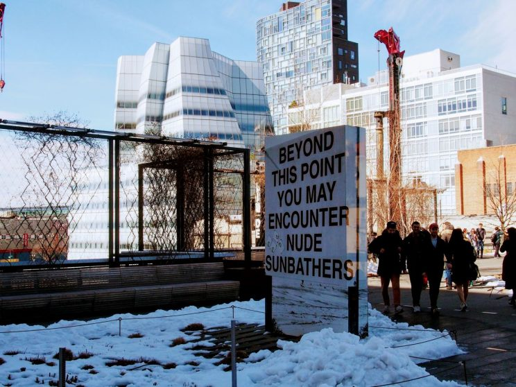 "Sign at the High Line: ""Beyond this point you may encounter nude sunbathers"""