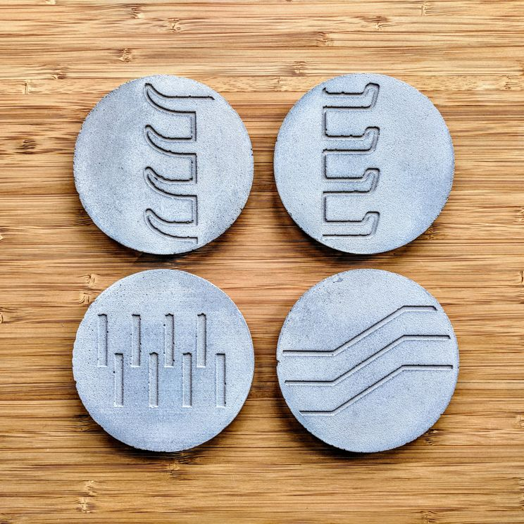 Slope brutalist coasters