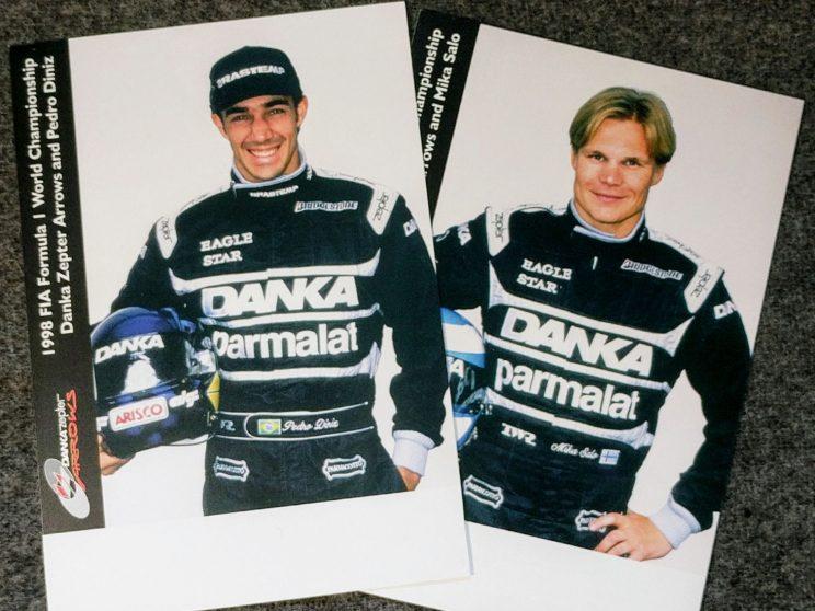 Postcards of Pedro Diniz and Mika Salo