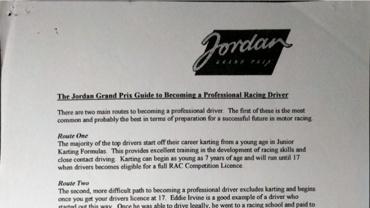 The Jordan Grand Prix Guide to Becoming a Professional Racing Driver