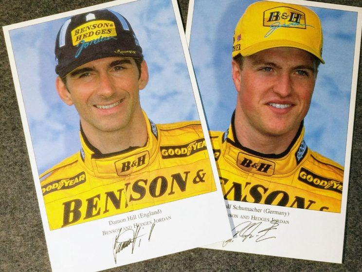 Postcards of Damon Hill and Ralf Schumacher