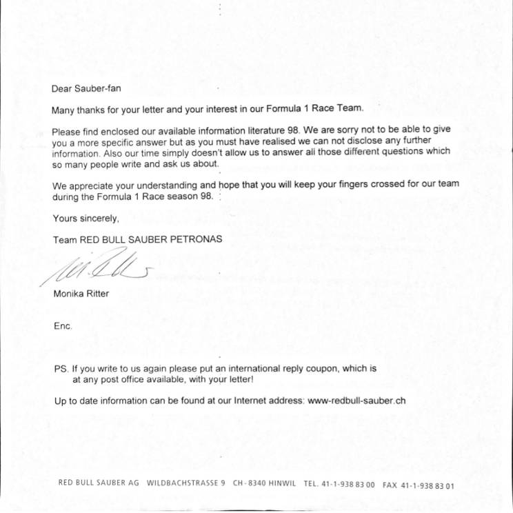 Letter from Sauber