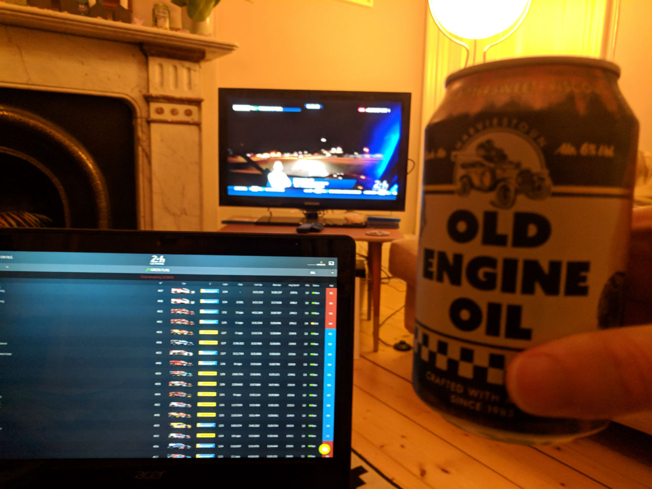 Watching 24 Hours of Le Mans with Old Engine Oil beer