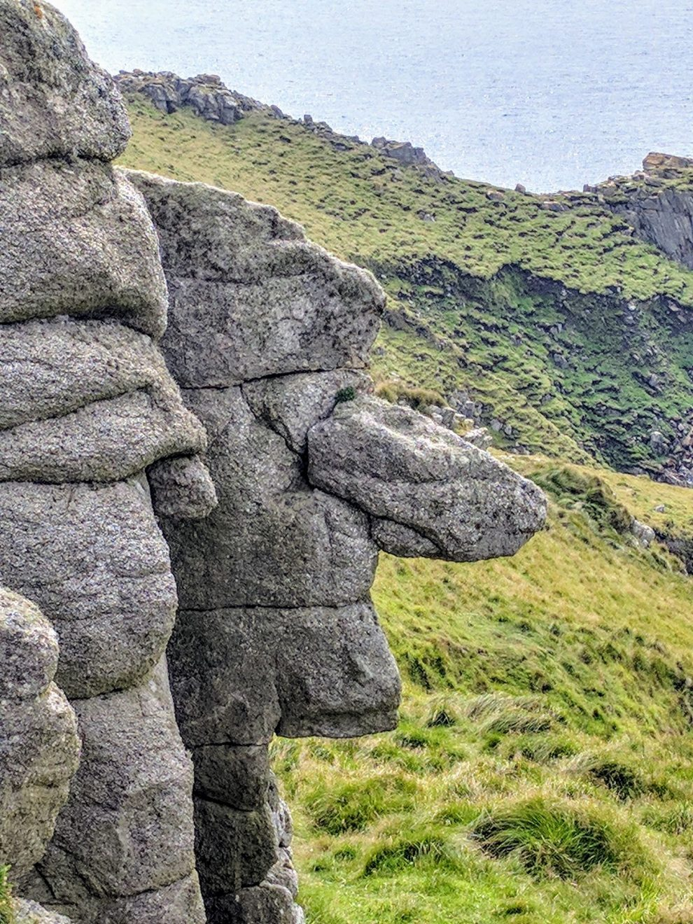 Head-shaped rock on Lundy