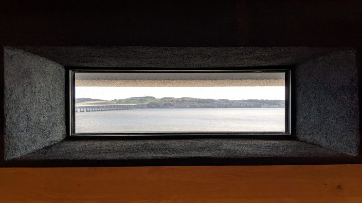 Window in V&A Dundee framing Fife