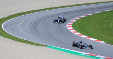Mercedes F1 cars at the Austrian Grand Prix (original photo by Lukas Raich, https://commons.wikimedia.org/wiki/File:FIA_F1_Austria_2018_race_scene_3.jpg)