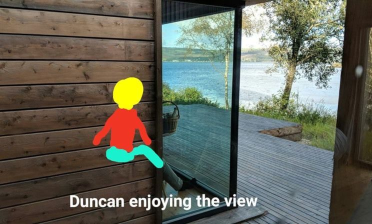 """Duncan enjoying the view"" - photo and illustration by Louise Cockburn"