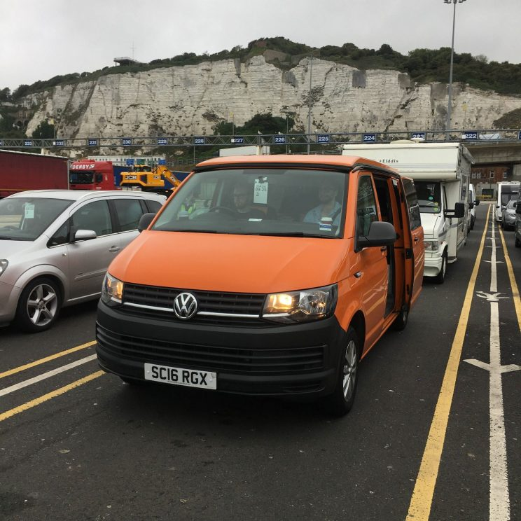 Our campervan at Dover while waiting for the ferry