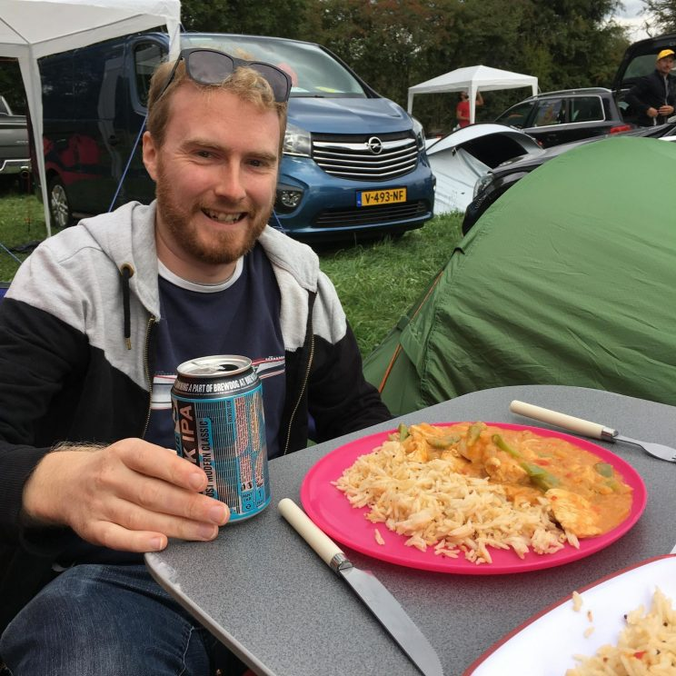 Eating dinner at the campsite