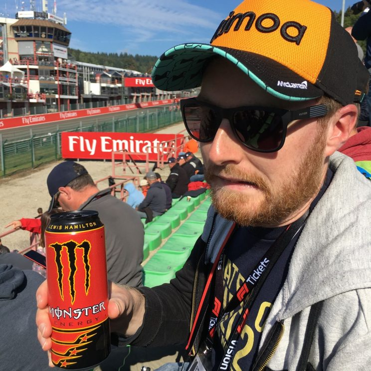 Me with my can of Lewis Hamilton Monster