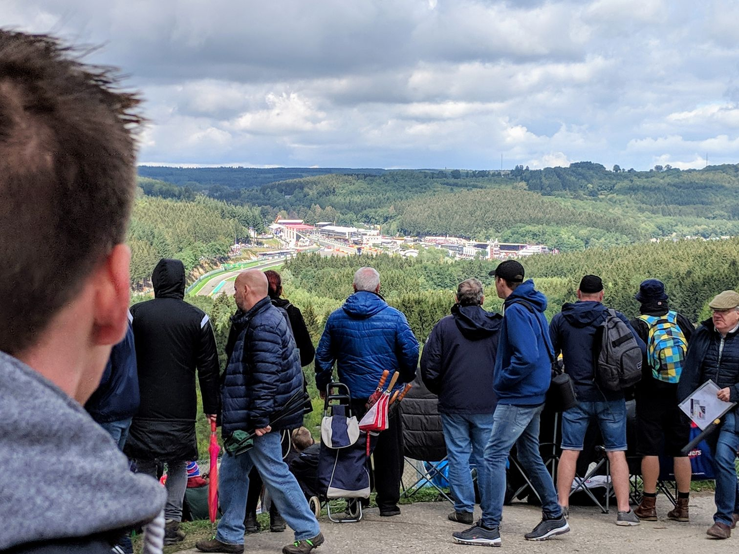 Crowds, a view of the Circuit de Spa-Francorchamps and surrounding countryside