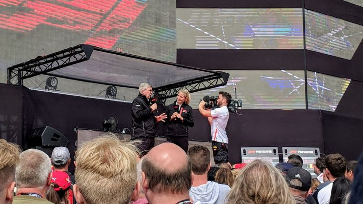 Ross Brawn being interviewed at the fanzone