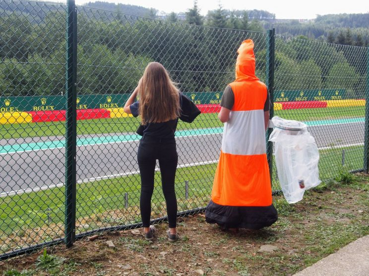 Fan dressed as a traffic cone