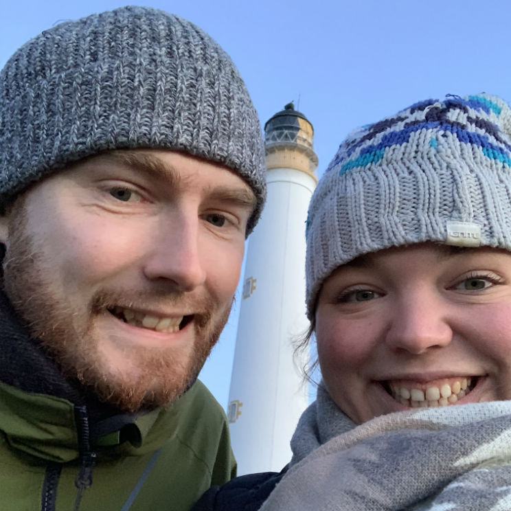 Me and Alex at Barns Ness lighthouse