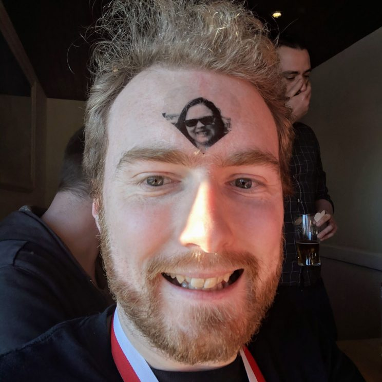 Me with a temporary tattoo of Alex on my forehead