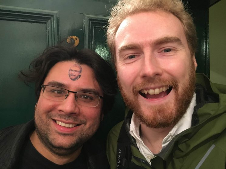 Jamie with a tattoo of me on his forehead, and me