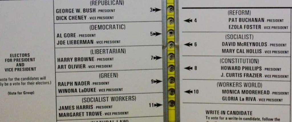 Official ballot for the 2000 United States Presidential election, November 7, 2000, from Palm Beach County, Florida