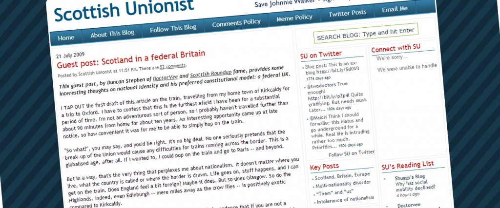 Screenshot of the Scottish Unionist blog