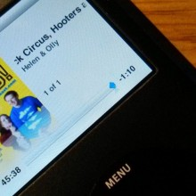iPod playing a podcast
