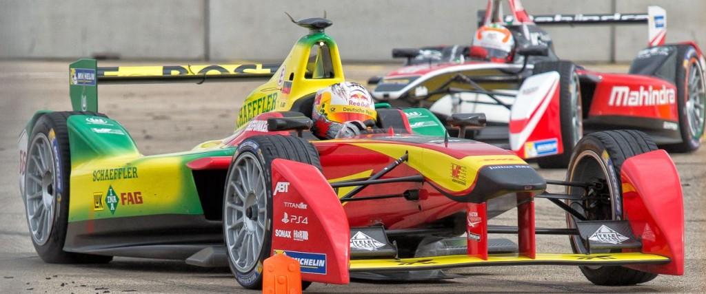 Formula E cars racing