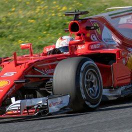 Sebastian Vettel driving a Ferrari