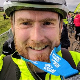 At the finish line for Pedal for Scotland
