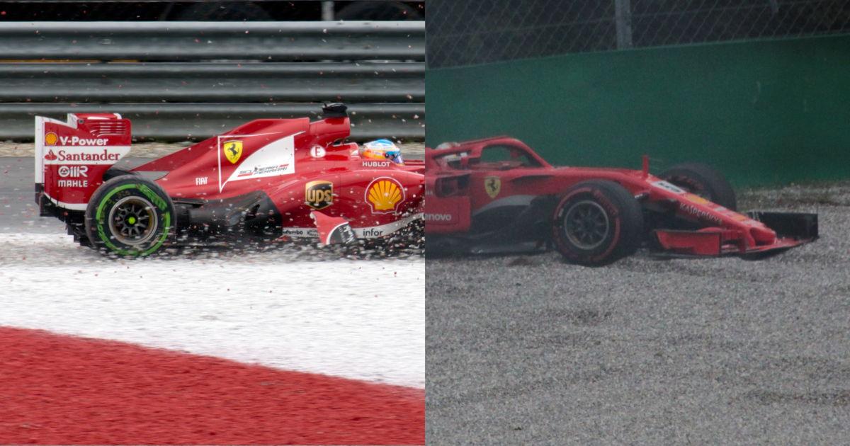 Fernando Alonso and Sebastian Vettel in the gravel trap in their Ferrari cars