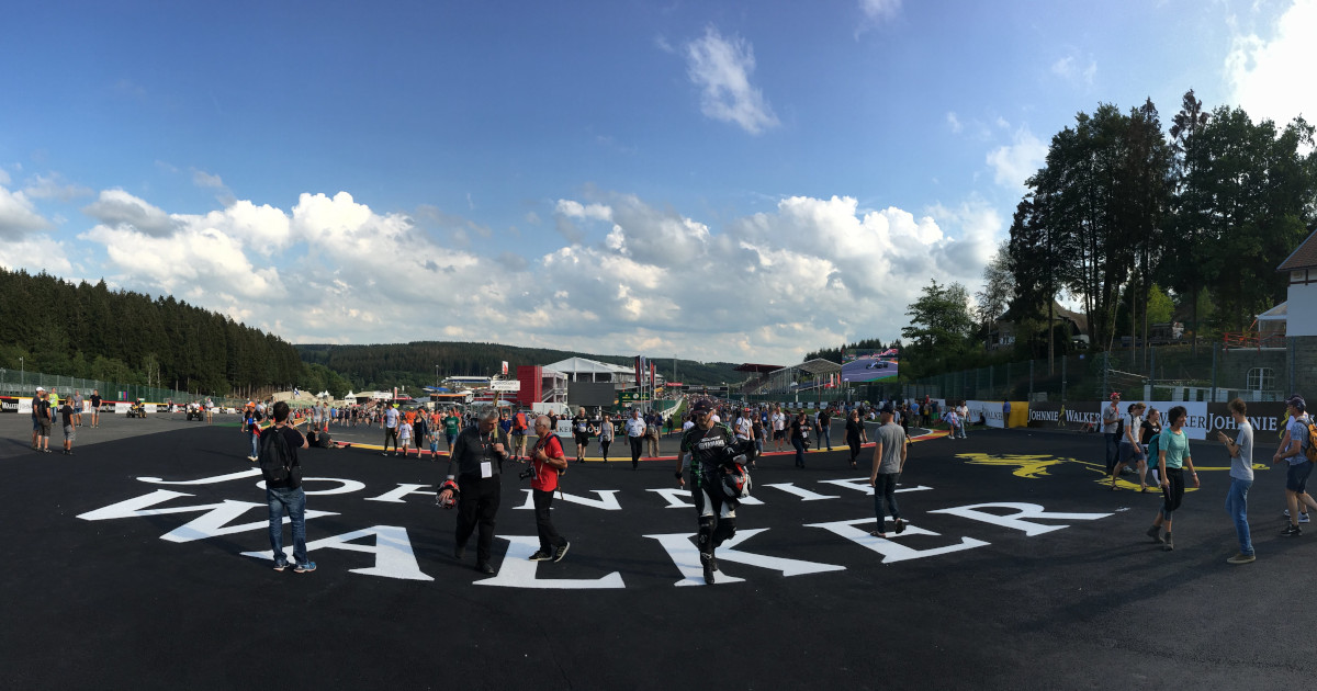 La Source with crowds on it, on the Thursday evening of the Belgian Grand Prix
