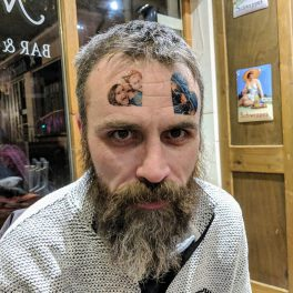 Friends with temporary Alex tattoos