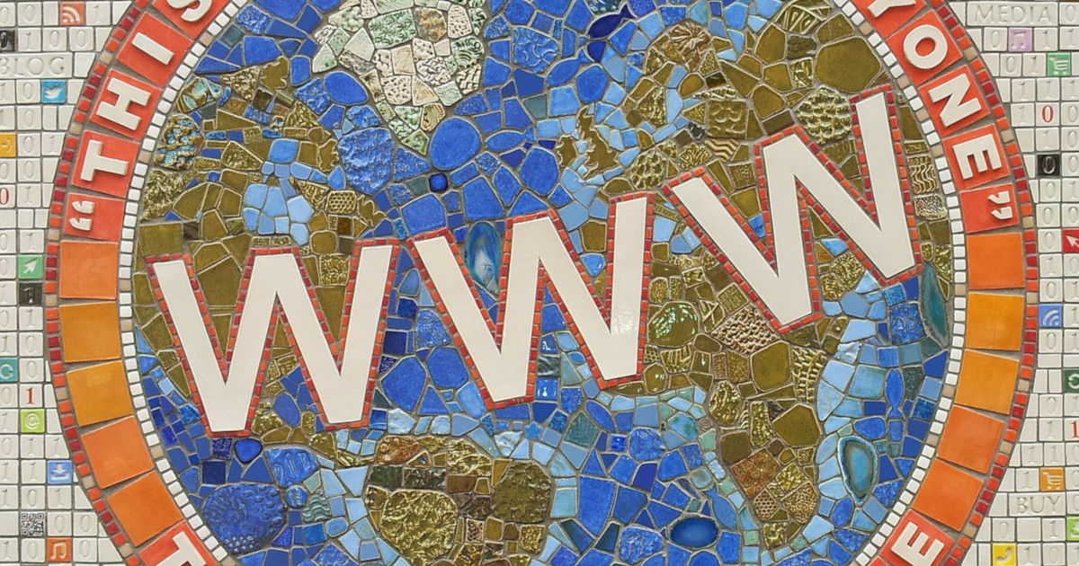 """A mosaic about the world wide web, depicting the letters """"www"""" against a globe"""